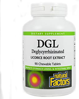 DGL Licorice Root Extract, 90 Chewable Tabs by Natural Factors (Pack of 4)