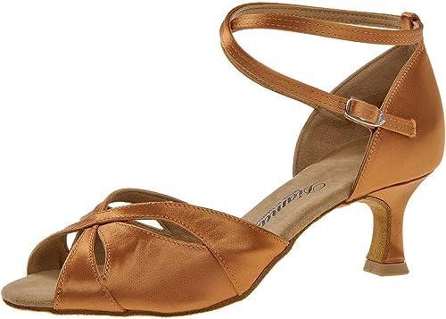 Femmes Chaussures de Danse Latine 141-077-379 141-077-379 - Satin Dark Tan - 5 cm Flare  économiser jusqu'à 80%