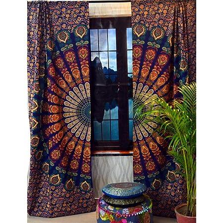 mandela curtain ombre printed window treatments boho window treatment door hanging drape balcony room decor curtain peacock mandala curtain