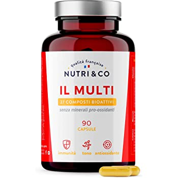 Multivitaminico Multiminerale | 27 Composti Bioattivi | Zinco Magnesio Vitamine A B C D3 E K2 | Minerali Alto Assorbimento | Integratore per Uomo e Donna | 90 Capsule Prodotte in Francia da Nutri&Co