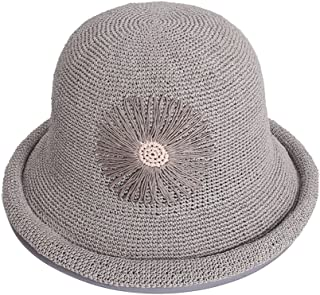 Curling Travel Sun Hat Sun Hat Women's Hat Hand Hook Collapsible Fisherman Hat (Color : Gray, Size : About 57cm for The hat)