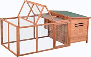 "PawHut 87"" Deluxe Wooden Backyard Chicken Coop with Large Outdoor Run and Nesting Box"