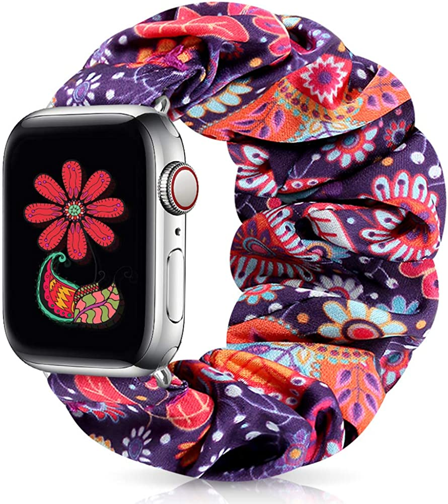 Runostrich Scrunchie Apple Watch Band Floral for iwatch 44mm 42mm 40mm 38mm, Soft Wristband Elastic Scrunchy Straps Women Bracelets Replacement Band for Apple Watch SE Series 6 5 4 3 2 1
