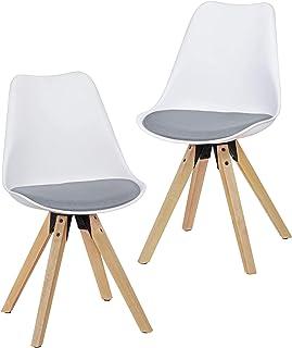 KadimaDesign KADIMA Design Conjunto de 2 Retro escandinavo Silla de Comedor AMIL Blanco/Gris tapizado de Tela Nuevo Presidente de Cocina Silla tapizada
