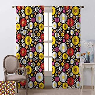 youpinnong Floral, Curtains Bathroom Window, Colorful Spring Theme with Sunflowers Daisy Chamomile Petals Summer Bluebells Motif, Curtains Kitchen, W84 x L84 Inch, Multicolor