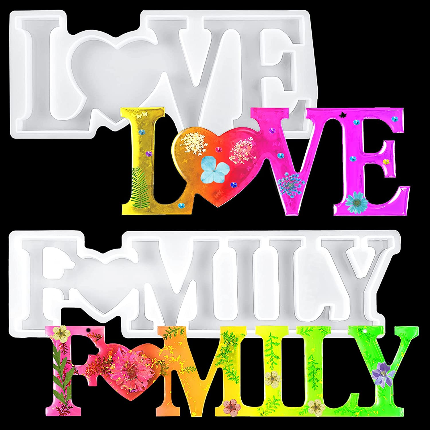 Same day shipping 2 Ranking TOP11 Piece Love and Family Mold Resin Set Letter Silicone