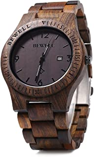 ZS-W086B Mens Wooden Watch Lightweight Date Display Analog Quartz Movement Wristwatches