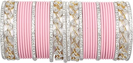 chauhan collection Baby Pink Color Indian 38 PCS Bangles Arrangement Set American Daimond Bangles Party WEAR Jewelry