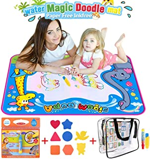 BBLIKE Magic Water Drawing Mat,Large Doodle Toy Mat 20x28in Water Drawing Mat and 1 Coloring Books with 4 Magic Pen 8 Big Molds Outdoor Toy Gift for Boys Girls Age 2 3 4 5 Year Toddler