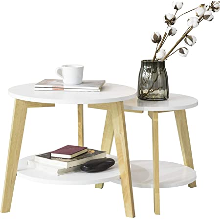 SoBuy® FBT75-W Tables Basses Gigognes Table café Ronde Table d'Appoint Table Basse Ronde Guéridon – Set de 2