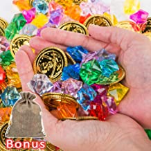 PROLOSO Pirate Gold Coins Buried Treasure and Gems Jewelry Crystal Playset Pirate Party Favor Decorations (120 Coins + 120 Gems)