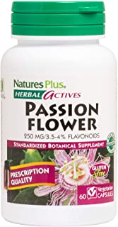 NaturesPlus Herbal Actives Passion Flower - 250 mg, 60 Vegan Capsules - Stress & Anxiety Relief Supplement, Promotes Natur...