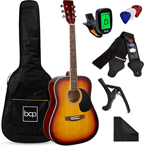 Best Choice Products 41in Full Size Beginner All Wood Acoustic Guitar Starter Set w/Case, Strap, Capo, Strings, Picks...