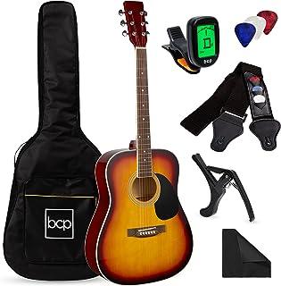 بهترین محصولات انتخابی 41 اینچ کیت شروع کننده گیتار آکوستیک تمام چوب با کیسه گیگ ، تیونر الکترونیکی ، انتخاب ، بند ، رگ - Sunburst