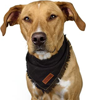 Tail Trends Plaid Frayed Dog Bandanas with Leather Patch Fits Most Medium to Large Breeds