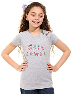 Andora Girl Power Embroidered Letters Short Sleeves Round Neck T-shirt for Girls - Heather Grey, 8 Years