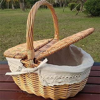 KANJJ-YU Basket de pique-nique tissé en osier Wicker Hangper comme sac à provisions avec couvercle et manche Camping piqu...
