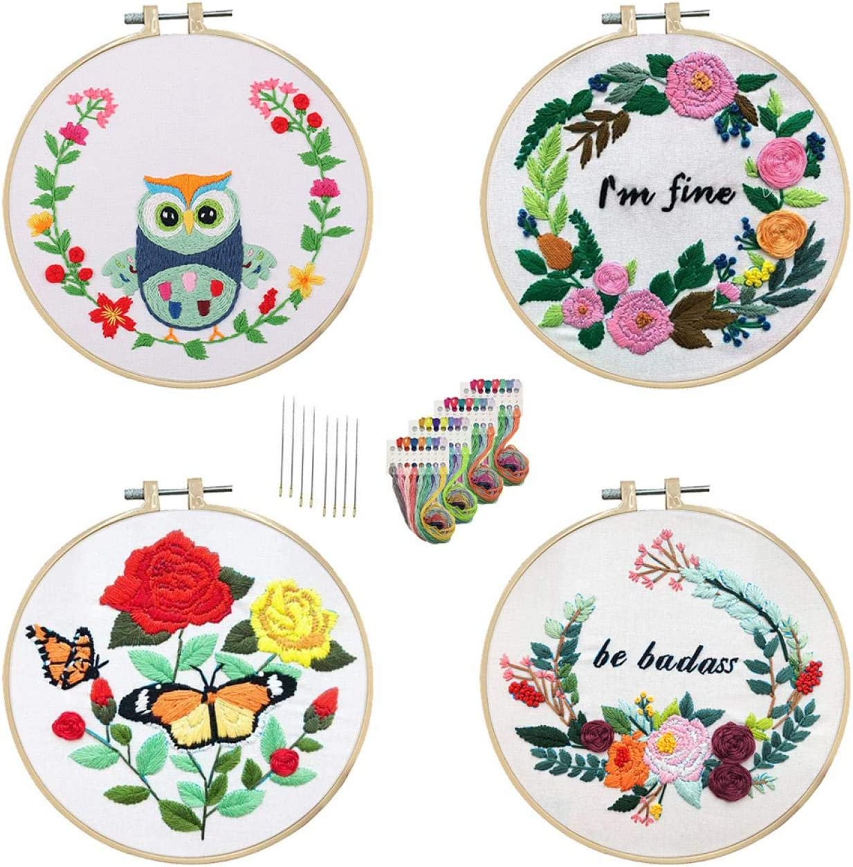 Cross Stitch Kits for Beginners Handmade Crafts Embroidery Kits for Adults Nuberlic 4 Pack Embroidery Kit with Pattern