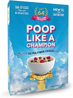 Poop Like A Champion® High Fiber Cereal, Low Carb, Keto Friendly, Clean Label, Gluten Free Cereal - 0% Gluten, 9g Net Carb...