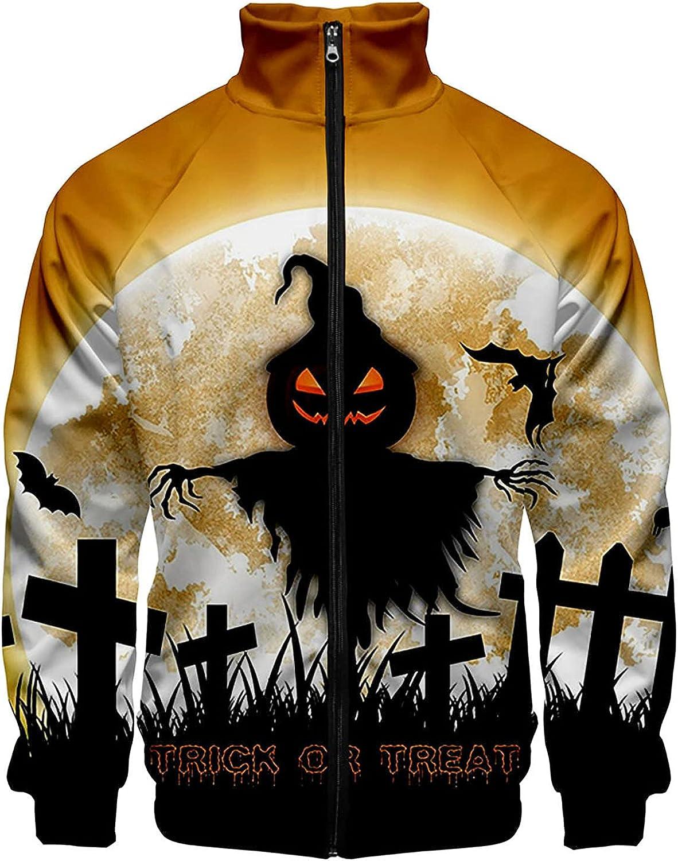 Men's Lightweight Windbreaker Casual Full Zipper Printed Jackets Fashion Halloween 3D Print Coat Outwear
