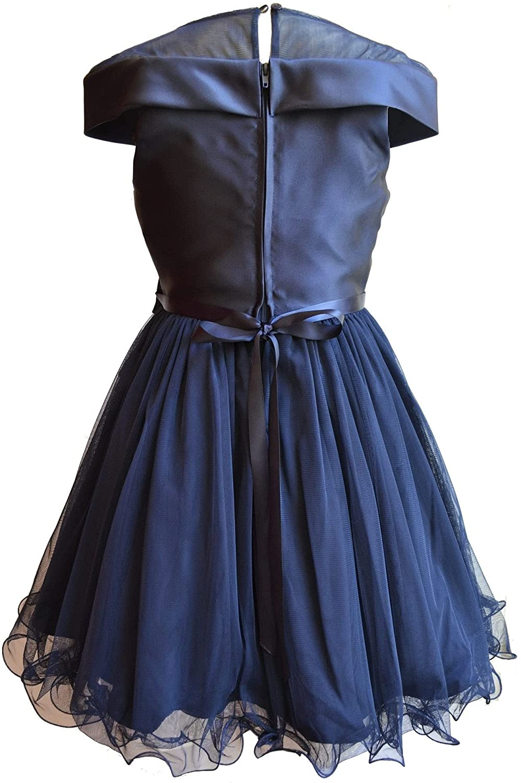 Rare Editions Girls Size 7-12 Navy Blue Mikado Illusion Mesh Dress