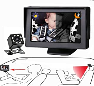 FEISIKE Baby Car Mirror, Baby Car Camera with Night Vision,View Infant in Rear Facing Seat with 4.3-Inch HD Display,Observe The Baby's Every Move at Any Time When During Driving,No Need To Look Back