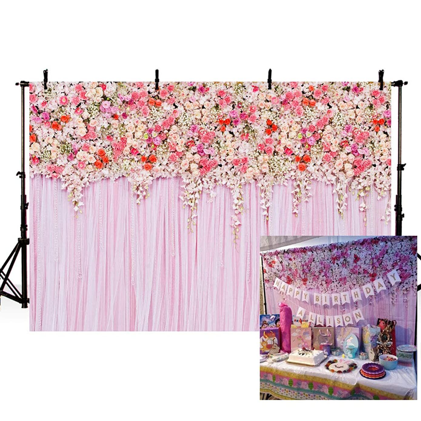 MEHOFOTO Pink Hanging Flower Printed Photo Studio Booth Backdrop Wedding Party Decoration Banner Floral Birthday Baby Shower Photography Background 7x5feet