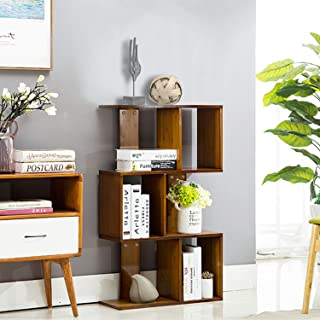 JERRY & MAGGIE - 3 Tier Shelves Display Bookcase Desk Organizer Storage Wood Closet Multi Units Deluxe Free Stand Shelving Shelves Racks Home Office - Rectangle Shaped | Dark Natural Wood Tone