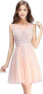 119d4d7e9ffe1 MisShow Damen Prinzessin Tüll V-Ausschnitt Brautjunfernkleid Applique  Ballkleid Abendkleid Rückenfrei Kurz Gr.32