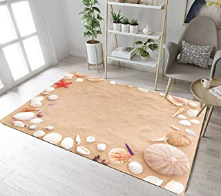 LB Conch Shell Tropical Beach Area Rug Scallop Starfish Bedroom Floor Mat Indoor Carpet Seascape for Home Children's Living Room Bathroom Non Slip Soft Memory Foam Yoga Carpet 4'X5'3''