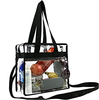 BeeGreen Stadium Clear Bags w Front Pocket and Shoulder Carry Handles, NCAA NFL & PGA Security Approved Travel & Gym Vinyl Zippered Tote Bag(Black,Red,Maroon,Purple,Orange,Lime)
