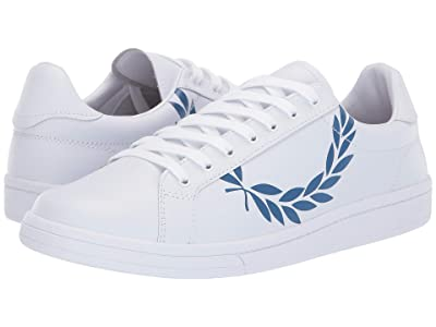 Fred Perry B721 Printed Laurel Leather (White/Mid Blue) Men