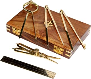 Proportional Divider Set of 5, Full Brass dividers with Executive Wooden Box, Single Handed 8