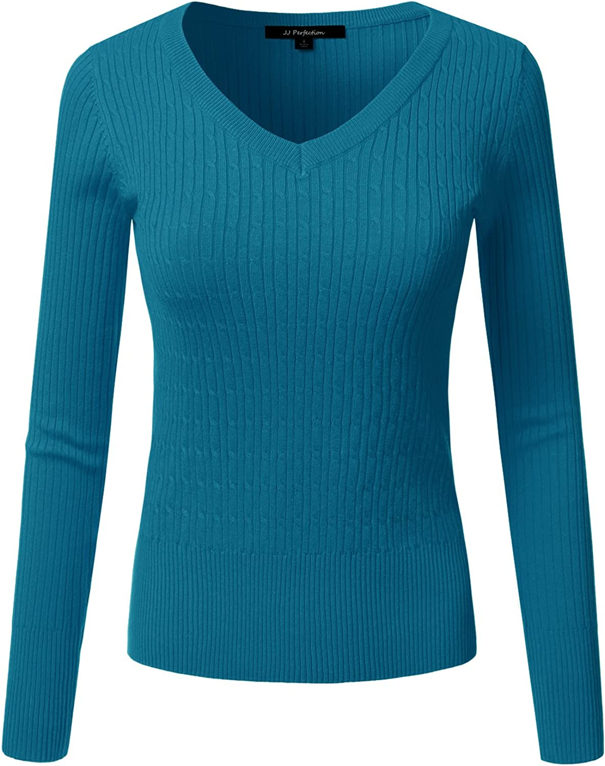JJ Perfection Women's Long Sleeve VNeck Cable Knit Classic Sweater