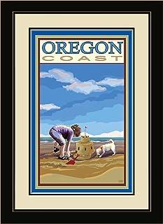 Northwest Art Mall JK-1690 MFGDM SC Oregon Coast Sand Castle Framed Wall Art by Artist Joanne Kollman, 13 by 16-Inch