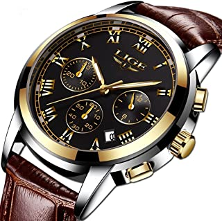 Watch,Mens Watches,Mens Luxury Fashion Genuine Leather Band Waterproof Chronograph Quartz Wrist Watch