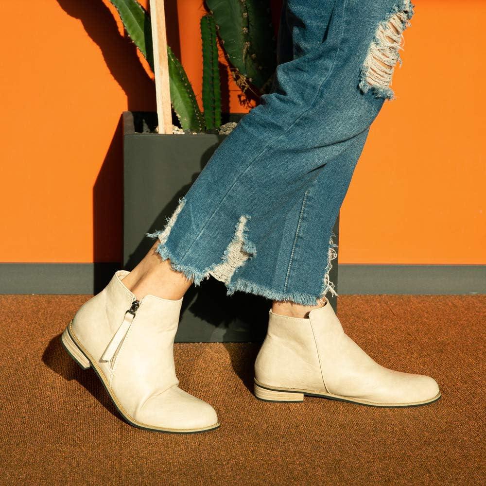 Hitmars Bottines Femme Bloc Talon Chelsea Boots Botte Cheville Chunky Slip on Coupe Courte /ét/é lautomne Chaussure Noir Marron Vert Rose EU35-EU43
