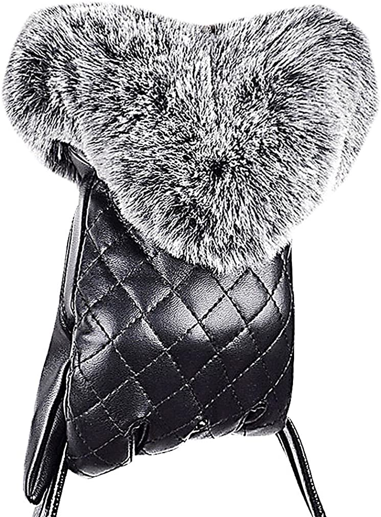 Maze, Women Black Quilted PU Leather Large Fur Trim Classy Cold Weather Gloves