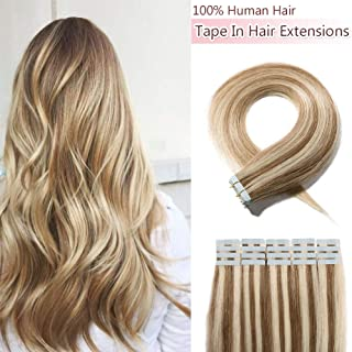40 Pieces 100g Rooted Tape In Hair Extensions Human Hair Invisible Seamless Skin Weft Double Side Tape Remy Human Hair Extensions Natural Straight For Women (16'',#12P613 Golden Brown&Bleach Blonde)