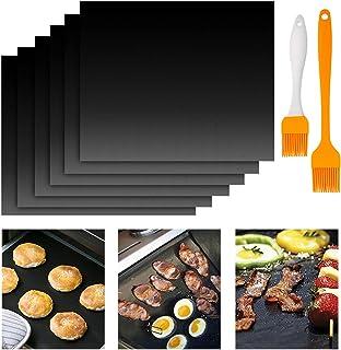 Tapis de Barbecue Extérieur, 6 Tapis de Cuisson pour Barbecue,Tapis de Barbecue Antiadhésif avec Deux Brosses à Huile, Tap...