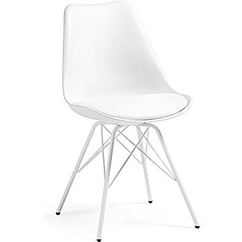 silla blanca patas acero