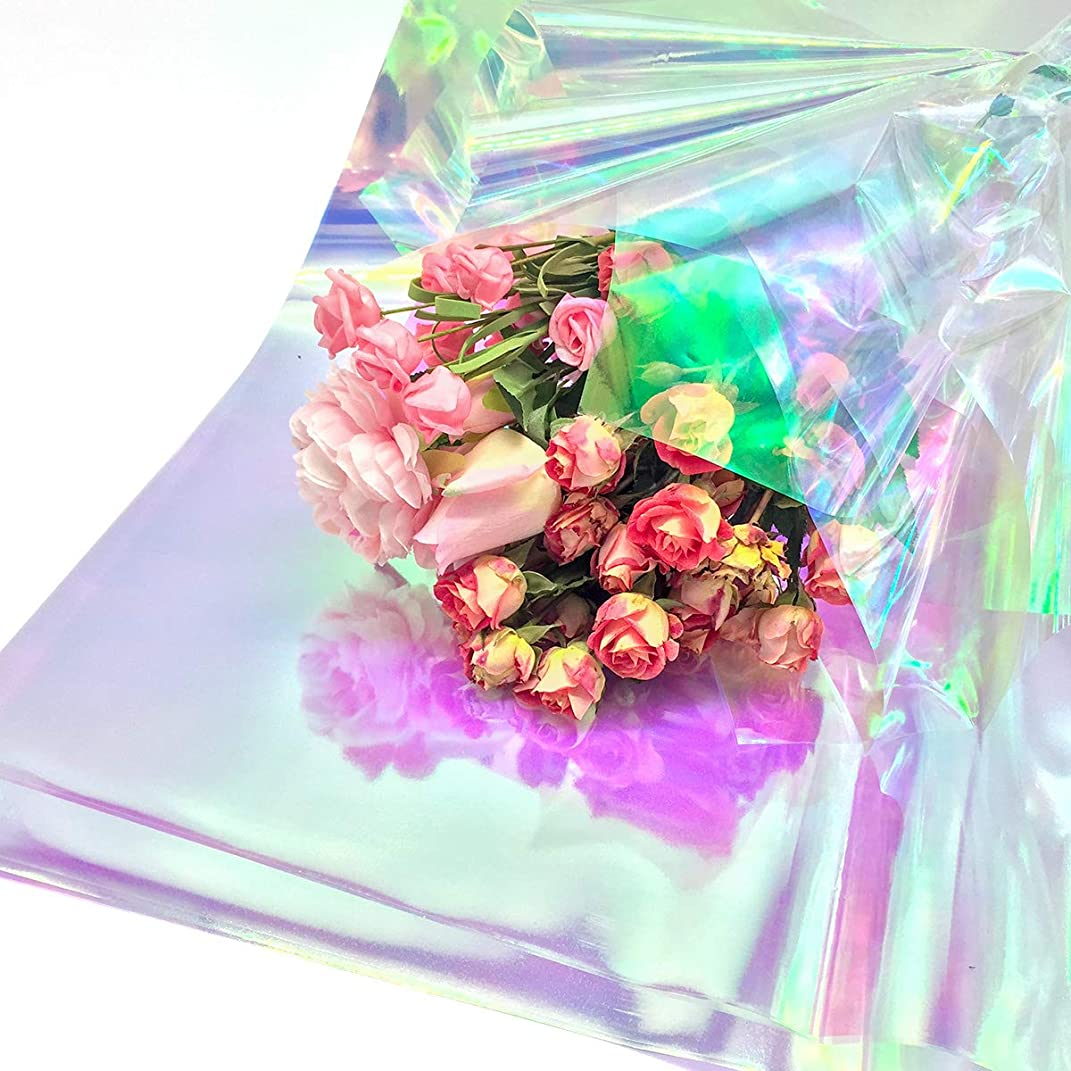 NICROLANDEE 10pcs Flower Wrapping Packaging Paper Iridescent Film Cellophane 20 x 24inch for Wedding Florist Floral Bouquet Valentine Rose Wrap Birthday Holiday Present Gift Candy Package