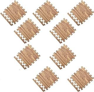 Baosity 9 Pieces Comfy Puzzle Floor Play Mat Interlocking Tiles for Kids Toddlers Infants - Light Wood Grain, as described