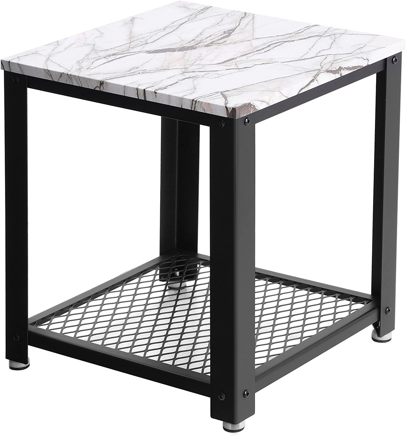 SONGMICS End, 2-Tier Side Table with Storage Shelf Living Room, Easy Assembly Faux Marble with Metal Frame ULET41BW