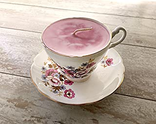 Teacup Candle - Vintage Royal Ascot China Cup with pink floral detail design with Pink Sugar Scented Soy Wax Candle