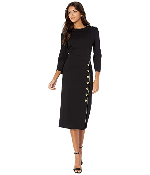 ESCADA 3/4 Sleeve Jersey Dress with Gold Buttons