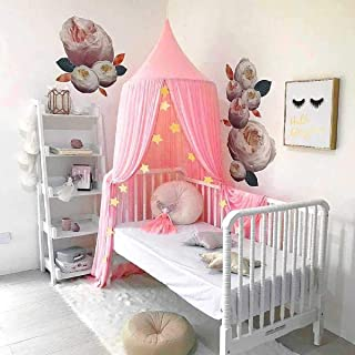 Dix-Rainbow Princess Bed Canopy Net for Kids Baby Bed, Round Dome Kids Indoor Outdoor Castle Play Tent Hanging House Decoration Reading Nook Cotton - Extra Large Size Coral Pink