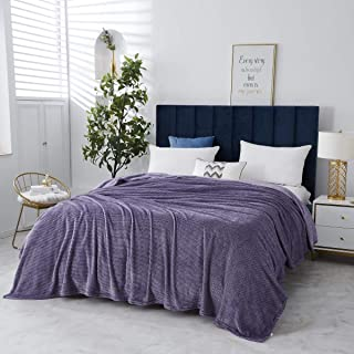 Special Glory Fleece Blanket Throws Super Soft and Warm All Season Lightweight,Microfiber Blanket for Sofa,Bed,Car,Hotel and Home (Herringbone Print Pattern -Purple, Queen 86 X 90 inch)
