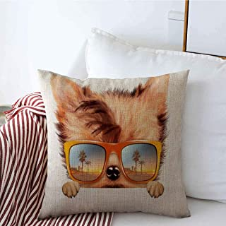 Decorative Throw Pillow Cover Exotic Abstract Funny Dog Wearing Sunglasses Travel Hill Beach Character Charm City Cityscape Cloud Linen Pillowcase Square Size 16