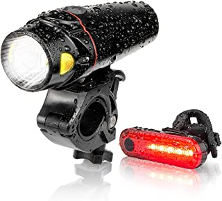 Autobag Bike Light Set, USB Smart Sensor Headlight Waterproof Runtime 10+ Hrs Super Bright Rechargeable Front Lights 350 LM Increase Visibility Safety and Tail Light, 4 Light Mode for Fits All Bicycle